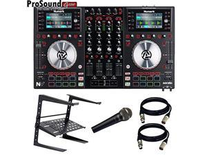 Numark NV DJ Controller for Serato with Intelligent Dual-Display and Touch-Capacitive Knobs + Free laptop Stand, 2 XLR C
