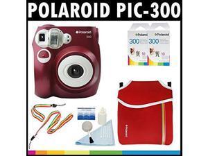 Polaroid PIC-300 Instant Film Analog Camera (Red) with (2) Polaroid 300 Instant Film Packs of 10 + Polaroid Neoprene Pou