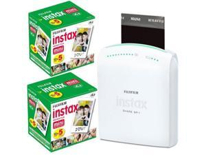 Fujifilm Instax Share Smartphone Portable Printer SP-1 With Fujifilm Instax Mini Instant Film, 10 Sheets - 5Pack ? 2 Pac