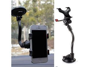 RevoLity Double Clip 360° Rotating Flexible Car Mount Cell Phone Holder Stand Car Accessories Color Black