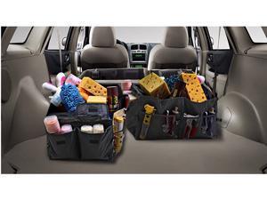 Revolity 2 in 1 Car Trunk Organiser / Foldable Heavy Duty Jumbo Bag Shopping Tidy Storage Car and Tool Organizer Black