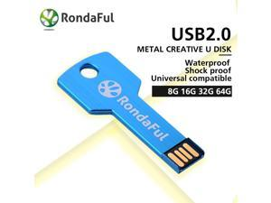 Rondaful USB Flash Drive 4 colors Metal Key 4GB 8GB 16GB 32GB Pendrive Waterproof Pen Drive 64 GB USB 2.0 USB Stick Memory Stick