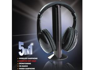 Black 5 in 1 Wireless Cordless Headphone Headset Earphone for PC TV Radio Wireless Headphone Gaming Headphone