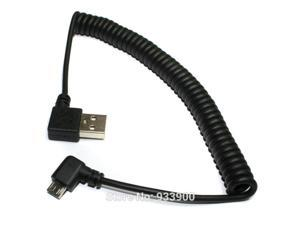 Universal Black short 30cm Retractable Cable Right Angle USB A to Right Angle Micro B USB Data Cable for Samsung HTC Huawei