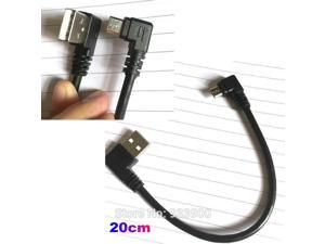 Universal Black short 20cm Right Angle USB A to Right Angle Micro B USB Data Cable for Samsung HTC Huawei Blackberry LG Sony