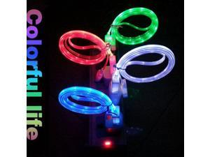 Crystal LED light Micro V8 USB data Cable noodle cable charger for Samsung Galaxy S4 S3 Note2 i9500 i9300 N7100 N7000