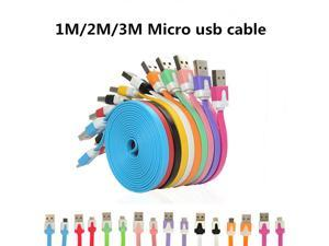 2m Flat Noodle Micro Usb Cable Mini 1M Flat Noodle Micro USB Data Sync Charger Microusb Cable for Samsung Android