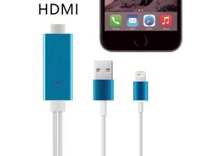 Hight Speed Aluminum 2M 8 Pin to HDMI Cable HDTV AV 1080P USB Cable Adapter Sync For iphone 5 5s 6 6s Plus Ipad 4 Air Mini