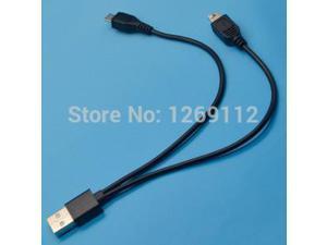 USB Male to Mini USB & Micro USB 5 Pin Adapter Dual Plug Data Charger Cable Cord B782 5ivY