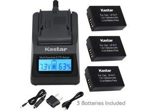 Kastar Ultra Fast Charger Kit and Battery (3-Pack) for Canon LP-E17 Battery LC-E17, LC-E17C Charger and Canon EOS M3, EOS Rebel T6i, EOS Rebel T6s, EOS 750D, EOS 760D, EOS 8000D, Kiss X8i cameras