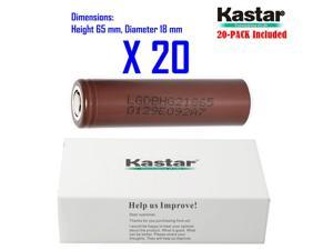 Kastar 18650 (20-PACK) LGDBHG21865 High Drain (35A Max. current load) Lithium-ion Battery, High Quality HG2 3.6V 3000mAh Rechargeable Flat Top for Electric Tools, Toys, LED Flashlights and Torch ect.