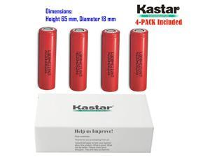 Kastar 18650 (4-PACK) LGDBHE21865 High Drain (35A Max. current load) Lithium-ion Battery, High Quality HE2 3.6V 2500mAh Rechargeable Flat Top for Electric Tools, Toys, LED Flashlights and Torch ect.