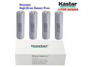 Kastar 18650 (4-Pack) LGABB41865 Lithium-ion Battery, LG Quality Rechargeable 2600mAh Flat Top Battery