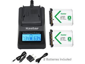 Kastar Fast Charger and Battery (2-Pack) for Sony NP-BX1 and Cyber-shot DSC-HX50V, DSC-HX300, DSC-RX1, DSC-RX100, DSC-WX300, HDR-AS10, HDR-AS15, HDR-AS30V, HDR-AS100V, HDR-CX240, HDR-MV1, HDR-PJ275