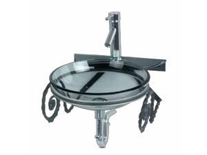 Small Wall Mount Glass Sink Iron Bracket Combo Package   Renovators Supply