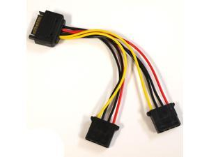 OKGEAR SATA 15-Pin Male to Dual 4-Pin Molex Female Y Splitter Adapter Power Cable