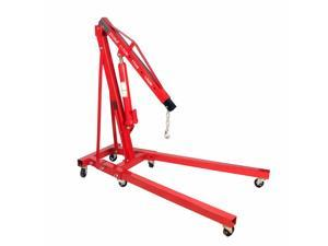 2 Ton Folding Engine Hoist Cherry Picker Shop Crane Lift w/ 8 Ton Hydraulic Ram