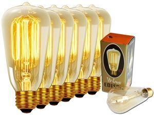 Edison Light Bulb - 6pack 40w - Vintage / Antique Style Bulbs Filament - Original Nostalgic Reproduction for String Lights & Pendant Lamps