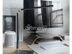 "NTW AirEnergy 5 Way LED Desk Lamp with Integrated USB Port, and Qi Certified Wireless Charging Base. ""SmartCube"" Qi adapter included for non-Qi enabled Device - 700Q1S10BK"