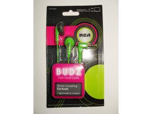 RCA BUDZ HP57GRDR Noise-isolating Earbuds, Green
