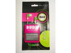RCA BUDZ HP60GRDR Noise-isolating Earbuds, Green
