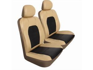 Pilot Automotive SC-436T Super Sport Synthetic Leather Seat Cover - Tan & Brown, 2 Piece Set