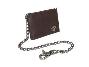Dickies Mens Leather Trucker Chain Slimfold Wallet, Brown