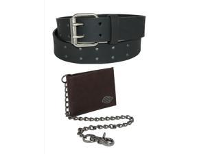 Dickies Mens Leather Chain Wallet and Two Hole Bridle Belt, 40