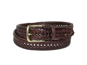 Tommy Hilfiger Mens Burnished Leather Handlaced 1 1/4 Inch Belt, 32, Tan