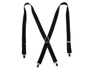 CTM® Mens Elastic X-Back Suspenders with Brass Hardware, Black