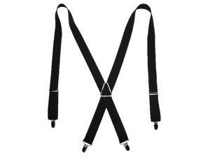 CTM® Mens Elastic X-Back Suspenders with Silver Hardware, Black