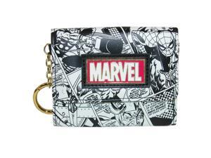BioWorld Womens Marvel Comic Book Theme Mini Tri-Fold Wallet, Black and White