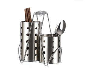 Stainless Steel Tableware Cage Chopsticks Tube Storage Utensil Holder,Chopsticks Holders Chopsticks Cage Combination  Circular Hole (20x23x10cm )