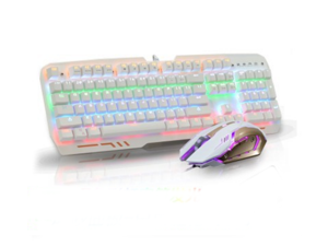 MITU Professional Waterproof Mechanical Green axis Keyboard Gaming Mouse Combo 104 Keys Backlit USB Wired for Computer and Game for Windows 7 / 8 /10/ XP / Vista (6-colour Backlight)