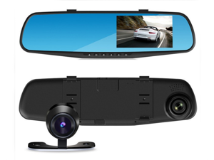 "Car Camera | Upgraded Car Video Recorder Full HD 1080P | Car Video Camera 4.3"" Inch LCD with Dual Lens for Vehicles Front & Rearview Mirror 