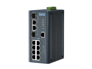 Advantech 8G+2G Port Combo Managed Redundant Industrial PoE + Switch with IXM, Wide Temp -10~60°C