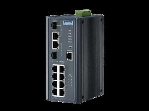 Advantech 8FE+2G Port Gigabit Managed Redundant Industrial PoE+ Switch with IXM, Wide Temp -10~60°C