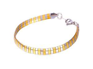 U7 INOX Stainless Steel 18K Gold Plated Omega Chain Bracelet Two Tone Color Snake Chain Bracelets Length 8'' Chic Fashion Jewelry for Men or Women