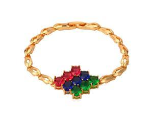 U7 Tri-Color Zirconia Inlaid Bracelet Blue Red Green Stone Link Chain Bracelets Platinum/Yellow Gold Plated Length 7.5'' Vintage Style Fashion Jewelry for Women