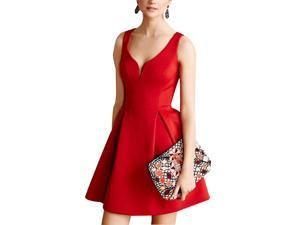 Burvogue Women's Elegant  Sleeveless Deep V Neck Pleated Party Dresses