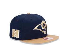 New Era NFL Los Angeles Rams 2tone Baycik Navy Blue Beige Visor Snapback Hat Cap