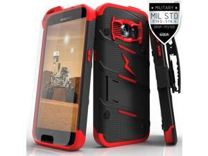 Galaxy S7 G930 Case, Zizo® Bolt Cover with FREE [.33mm 9H Tempered Glass Screen Protector] Included [Military Grade] Armor Case Kickstand Holster