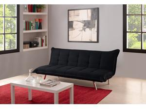 DHP Convertible Edge Sofa Sleeper Futon Couch Upholstered in Premium Black Microfiber