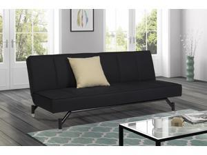 DHP Convertible Parker Sofa Sleeper Futon Couch Upholstered in Premium Black Linen