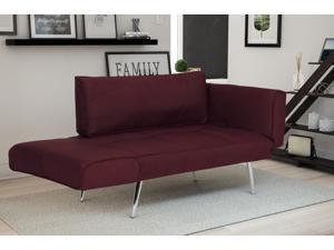 Premium Berry Futon/sofa Sleeper Couch with Twill Fabric, Chrome Legs & Adjustable Armrests w/ Magazine Storage