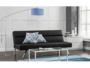 Premium Sofa Futon Couch, Modern Design W/ Rich Faux Leather, Sturdy Stainless Steel Legs and Comfortable Memory Foam Cushion, From Sofa to Bed in Seconds