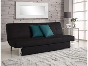 DHP Sola Convertible Sofa Futon w/ Space Saving Storage Compartments, Chrome Legs and Upholstered in Rich Black Microfiber…
