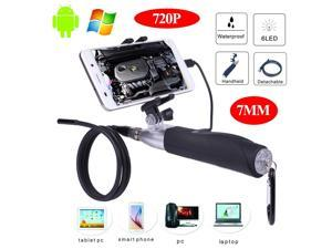 Handheld Endoscope Camera Waterproof 7mm Diameter Inspection Borescope with 1280X720 HD Camera for iPhone, iPad, Android Tablets and Smartphones