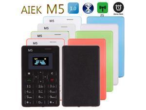 AEKU M5 Mini Card Cell Phone Ultra Slim 1.0inch Pocket Unlocked GSM Phone