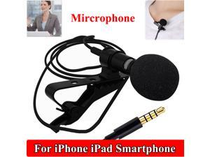 Mini Portable Clip-on Lapel Lavalier 3.5mm Jack Condenser Wired Microphone Mic for iPhone iPad Smartphones Computer
